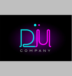 Neon lights alphabet du d u letter logo icon vector