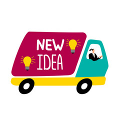 new idea delivery truck businesswoman drive truck vector image