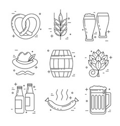 Octoberfest thin line icons beer festival vector