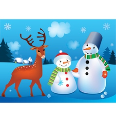 Of landscape with snowmen and deer vector