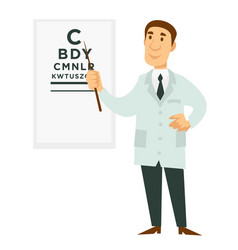 Ophthalmologist doctor and signboard with letters vector