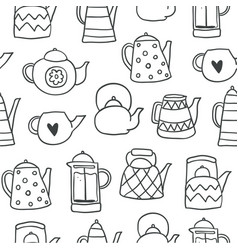 outline cute tea pots seamless pattern vector image