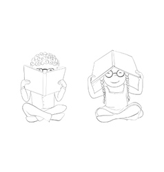 Outline funny kids reading books for coloring vector image