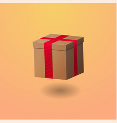 realistic gift box with ribbon vector image