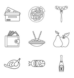 Rest in cafe icons set outline style vector