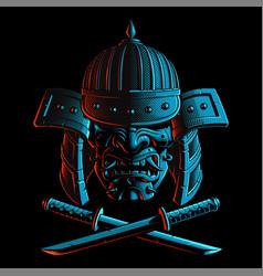 samurai mask with katana sword vector image vector image