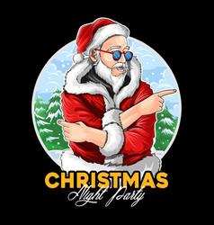 Santa claus wears dark glasses at christmas vector