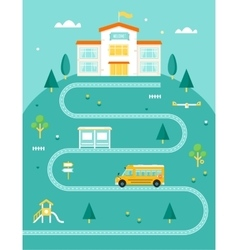 School Bus Taking Kids to School Rural Landscape vector