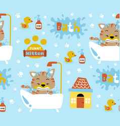 Seamless pattern kittens cartoon in bathtub vector