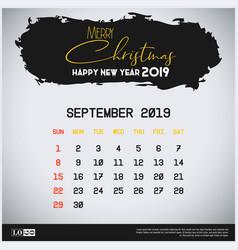 September 2019 new year calendar template brush vector