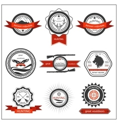 Set emblems hunting wolf eagle deer vector