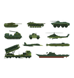 set isolated war or military vehicle ship vector image
