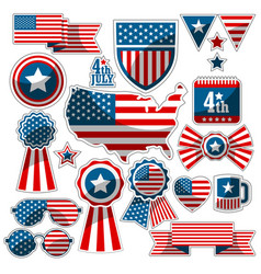 Set of decorative elements with the american flag vector