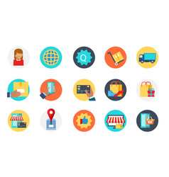 set of e-commerce icon delivery purchase sale vector image