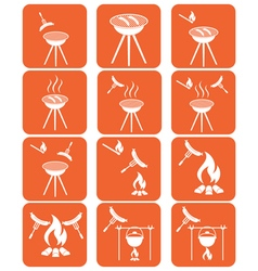 Set of sausage camp cooking icons vector