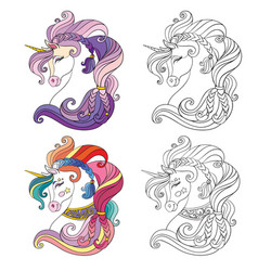 set two ornate unicorns heads coloring vector image