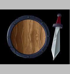 sharp sword with shield vector image