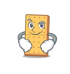 Smirking graham cookies character cartoon vector