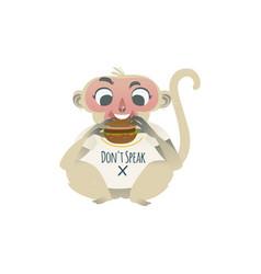 speak no evil monkey eating big burger vector image