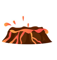 splashing hot lava in volcano isolated eruption vector image