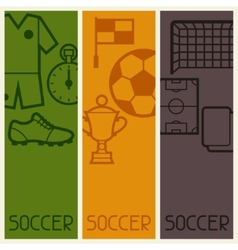 Sports banners with soccer football symbols vector image