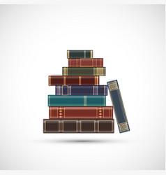 Stack old vintage books vector