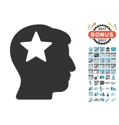 Star Head Icon With 2017 Year Bonus Pictograms vector image