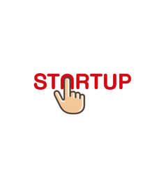 Start up click hand text letter logo vector
