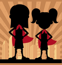 Super kids 2 girls vector