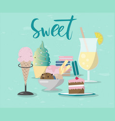 Sweet and lemonade with hand vector