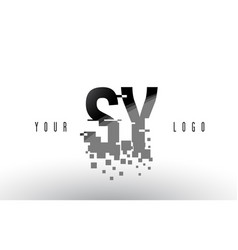sy s y pixel letter logo with digital shattered vector image