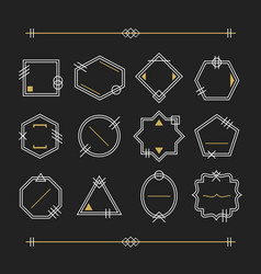 trendy white and golden empty line white emblems vector image