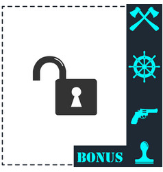 unlock icon flat vector image