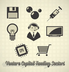 Venture Capital Funding Icons vector image vector image