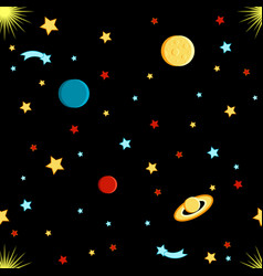View of space moon sun saturn earth other planets vector