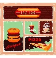 Vintage fast food banner set vector