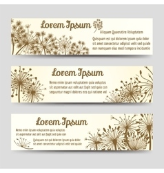 Vintage horizontal banners with dandelions vector
