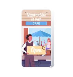 waiter holding open sign board coronavirus vector image