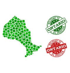 Welcome composition of map of ontario province and vector