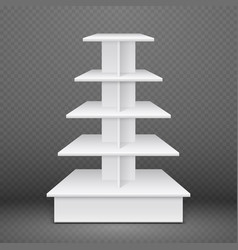 White exhibition stand with square shelves retail vector