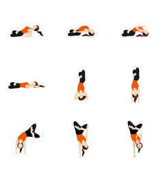 Yoga asanas advanced set with lotus twist and bend vector
