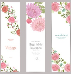 collection vertical banners with flowers for your vector image vector image