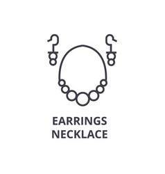 earrings necklace line icon outline sign linear vector image