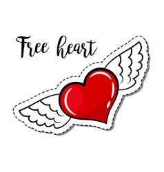 fashion patch element winged heart vector image vector image