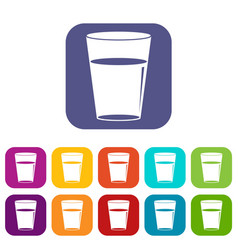 Glass water icons set flat vector
