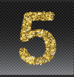 gold glittering number five shining golden vector image
