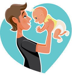 happy father holding his baby cartoon vector image vector image