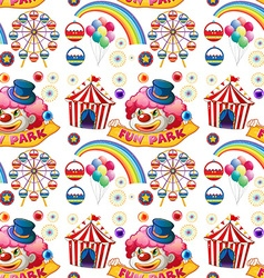 Seamless clown and circus rides vector image vector image