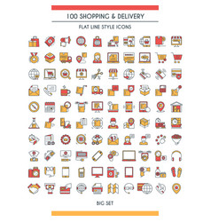 shopping and delivery icons set vector image vector image