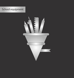black and white style icon of pencil pen ruler vector image vector image